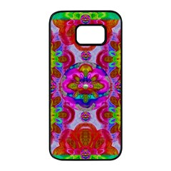 Fantasy   Florals  Pearls In Abstract Rainbows Samsung Galaxy S7 Edge Black Seamless Case by pepitasart