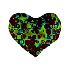 Psychedelic Lights 6 Standard 16  Premium Flano Heart Shape Cushions by MoreColorsinLife