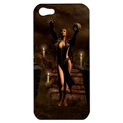 The Dark Side, Dark Fairy With Skulls In The Night Apple Iphone 5 Hardshell Case by FantasyWorld7