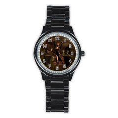 The Dark Side, Dark Fairy With Skulls In The Night Stainless Steel Round Watch by FantasyWorld7