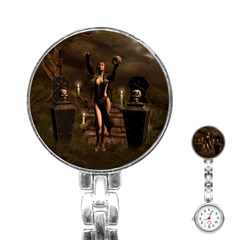 The Dark Side, Dark Fairy With Skulls In The Night Stainless Steel Nurses Watch by FantasyWorld7