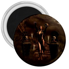 The Dark Side, Dark Fairy With Skulls In The Night 3  Magnets by FantasyWorld7