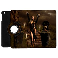 The Dark Side, Dark Fairy With Skulls In The Night Apple Ipad Mini Flip 360 Case by FantasyWorld7