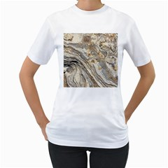 Background Structure Abstract Grain Marble Texture Women s T Shirt (white) (two Sided)