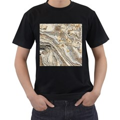 Background Structure Abstract Grain Marble Texture Men s T Shirt (black) (two Sided)