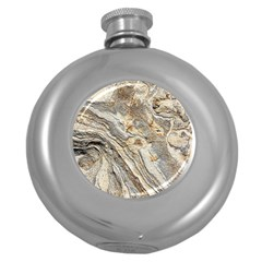 Background Structure Abstract Grain Marble Texture Round Hip Flask (5 Oz)