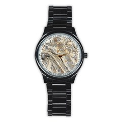Background Structure Abstract Grain Marble Texture Stainless Steel Round Watch by Nexatart