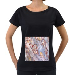 Marble Pattern Women s Loose Fit T Shirt (black)