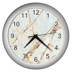Marble Texture White Pattern Surface Effect Wall Clocks (silver)