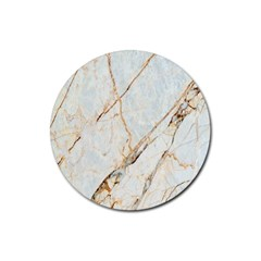 Marble Texture White Pattern Surface Effect Rubber Coaster (round)  by Nexatart
