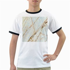 Marble Texture White Pattern Surface Effect Ringer T Shirts