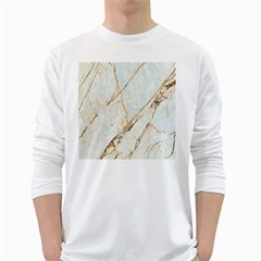 Marble Texture White Pattern Surface Effect White Long Sleeve T Shirts