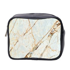 Marble Texture White Pattern Surface Effect Mini Toiletries Bag 2 Side