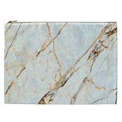 Marble Texture White Pattern Surface Effect Cosmetic Bag (xxl)