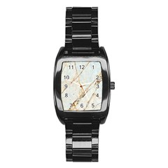 Marble Texture White Pattern Surface Effect Stainless Steel Barrel Watch