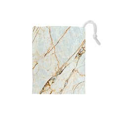 Marble Texture White Pattern Surface Effect Drawstring Pouches (small)