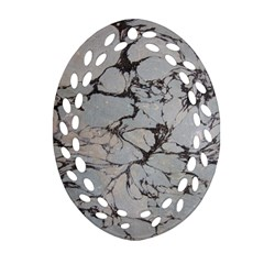 Slate Marble Texture Oval Filigree Ornament (two Sides) by Nexatart