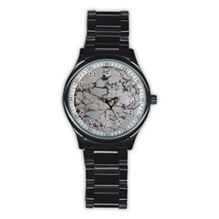 Slate Marble Texture Stainless Steel Round Watch by Nexatart