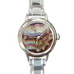 Wall Marble Pattern Texture Round Italian Charm Watch