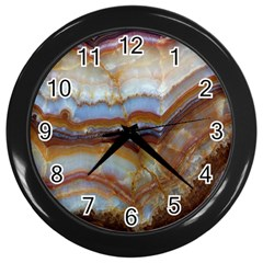 Wall Marble Pattern Texture Wall Clocks (black) by Nexatart