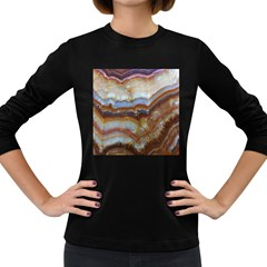 Wall Marble Pattern Texture Women s Long Sleeve Dark T Shirts