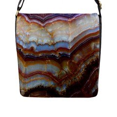Wall Marble Pattern Texture Flap Messenger Bag (l)