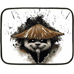 Warrior Panda T Shirt Double Sided Fleece Blanket (mini)  by AmeeaDesign