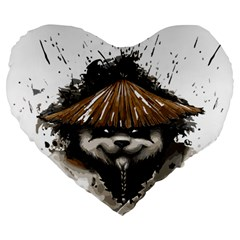 Warrior Panda T Shirt Large 19  Premium Flano Heart Shape Cushions by AmeeaDesign