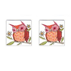 Summer Colourful Owl T Shirt Cufflinks (square) by AmeeaDesign