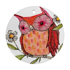 Summer Colourful Owl T Shirt Round Ornament (two Sides) by AmeeaDesign