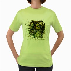 Angry And Colourful Owl T Shirt Women s Green T Shirt by AmeeaDesign