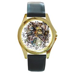 Angry And Colourful Owl T Shirt Round Gold Metal Watch by AmeeaDesign
