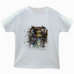 Angry And Colourful Owl T Shirt Kids White T Shirts by AmeeaDesign