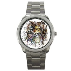Angry And Colourful Owl T Shirt Sport Metal Watch by AmeeaDesign