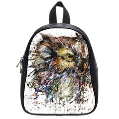 Angry And Colourful Owl T Shirt School Bag (small) by AmeeaDesign