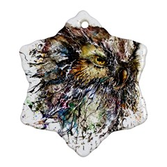 Angry And Colourful Owl T Shirt Snowflake Ornament (two Sides) by AmeeaDesign