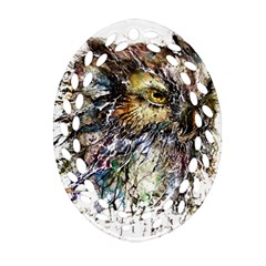 Angry And Colourful Owl T Shirt Oval Filigree Ornament (two Sides) by AmeeaDesign