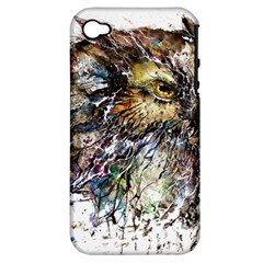 Angry And Colourful Owl T Shirt Apple Iphone 4/4s Hardshell Case (pc+silicone) by AmeeaDesign