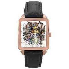 Angry And Colourful Owl T Shirt Rose Gold Leather Watch  by AmeeaDesign