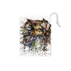 Angry And Colourful Owl T Shirt Drawstring Pouches (small)  by AmeeaDesign