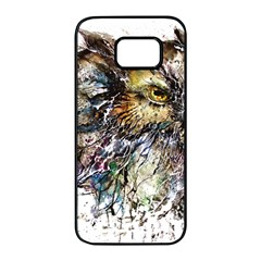 Angry And Colourful Owl T Shirt Samsung Galaxy S7 Edge Black Seamless Case by AmeeaDesign