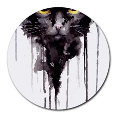 Angry Cat T Shirt Round Mousepads by AmeeaDesign