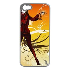 Girl Autumn Grass  Apple Iphone 5 Case (silver) by amphoto