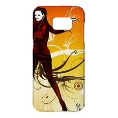 Girl Autumn Grass  Samsung Galaxy S7 Edge Hardshell Case by amphoto