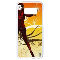 Girl Autumn Grass  Samsung Galaxy S8 White Seamless Case by amphoto