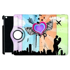 Couple Hugging Heart Apple Ipad 3/4 Flip 360 Case by amphoto