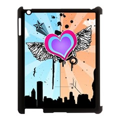 Couple Hugging Heart Apple Ipad 3/4 Case (black) by amphoto