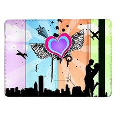 Couple Hugging Heart Samsung Galaxy Tab Pro 12 2  Flip Case by amphoto