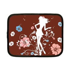Girl Flowers Silhouette  Netbook Case (small)  by amphoto