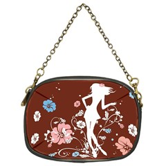 Girl Flowers Silhouette  Chain Purses (one Side)  by amphoto
